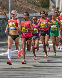 2014 Boston Marathon: Shalane Flangain, USA, leads elite women