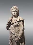 Roman statue of Demiougous, 2nd century AD from Hierapolis. Hierapolis Archaeology Museum, Turkey. Against a grey background .<br /> <br /> If you prefer to buy from our ALAMY STOCK LIBRARY page at https://www.alamy.com/portfolio/paul-williams-funkystock/greco-roman-sculptures.html- Type - Hierapolis - into LOWER SEARCH WITHIN GALLERY box - Refine search by adding a subject, place, background colour, museum etc.<br /> <br /> Visit our CLASSICAL WORLD HISTORIC SITES PHOTO COLLECTIONS for more photos to download or buy as wall art prints https://funkystock.photoshelter.com/gallery-collection/The-Romans-Art-Artefacts-Antiquities-Historic-Sites-Pictures-Images/C0000r2uLJJo9_s0c