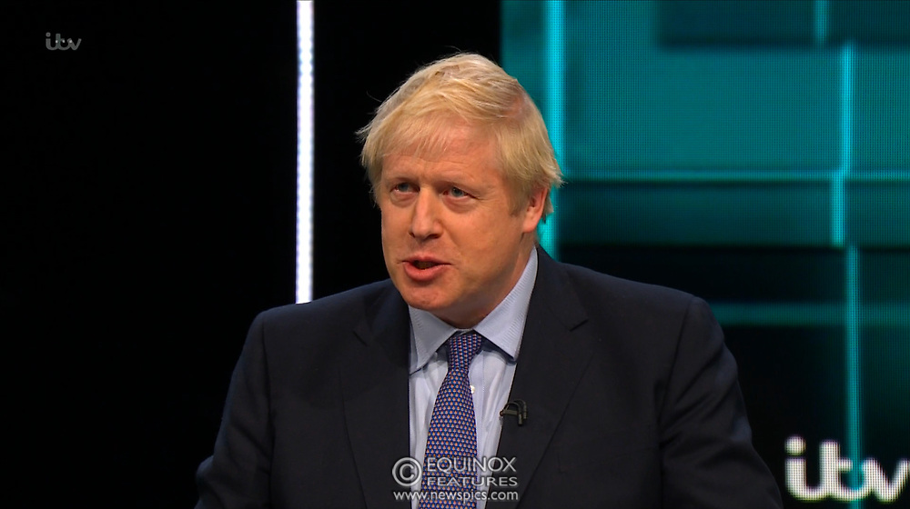 Broadcast TV, United Kingdom - 19 November 2019<br /> Labour leader Jeremy Corbyn and Prime Minister Boris Johnson debate live on ITV tonight as part of the 2019 general election campaign.<br /> (supplied by: Supplied by: EQUINOXFEATURES.COM)<br /> Picture Data:<br /> Contact: Equinox Features<br /> Date Taken: 20191119<br /> Time Taken: 212038<br /> www.newspics.com