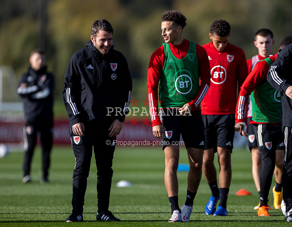 CARDIFF, WALES - Wednesday, October 7, 2020: Wales' Ronan Kavanagh (L) and Ethan Ampadu during a training session at the Vale Resort ahead of the International Friendly match against England. (Pic by David Rawcliffe/Propaganda)
