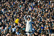 Tic-Tac man with white gloves and old method signals bookmakers odds for betting at Cheltenham Racecourse National Hunt Festival of Racing, UK