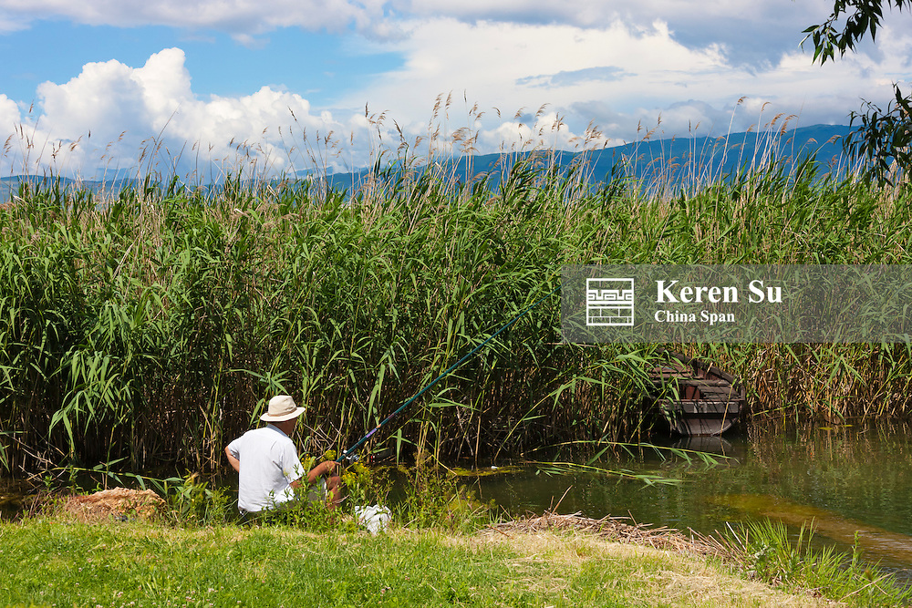 Man fishing on Lake Ohrid, Republic of Macedonia