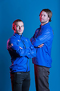 Murray Burchan and Billy Morgan during GB Park & Pipe Winter Olympic official Adidas kitting out day on 24th January 2018 in Stockport, United Kingdom.