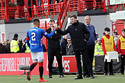 Rangers Manager Steven Gerrard greets Rangers defender James Tavernier (2) at the end of the Ladbrokes Scottish Premiership match between Hamilton Academical FC and Rangers at New Douglas Park, Hamilton, Scotland on 24 February 2019.