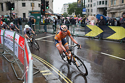 Katarzyna Pawlowska (POL) of Boels-Dolmans Cycling Team leans into a corner on Trafalgar Square during the Prudential Ride London Classique - a 66 km road race, starting and finishing in London on July 29, 2017, in London, United Kingdom. (Photo by Balint Hamvas/Velofocus.com)