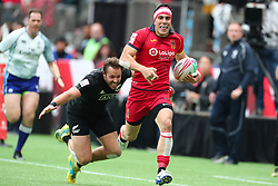 March 9, 2019 - Vancouver, BC, U.S. - VANCOUVER, BC - MARCH 09: Joan Losada (9)  of Spain runs the ball downfield while evading a tackle Tim Mikkelson (2) of New Zealand during day 1 of the 2019 Canada Sevens Rugby Tournament on March 9, 2019 at BC Place in Vancouver, British Columbia, Canada. (Photo by Devin Manky/Icon Sportswire) (Credit Image: © Devin Manky/Icon SMI via ZUMA Press)