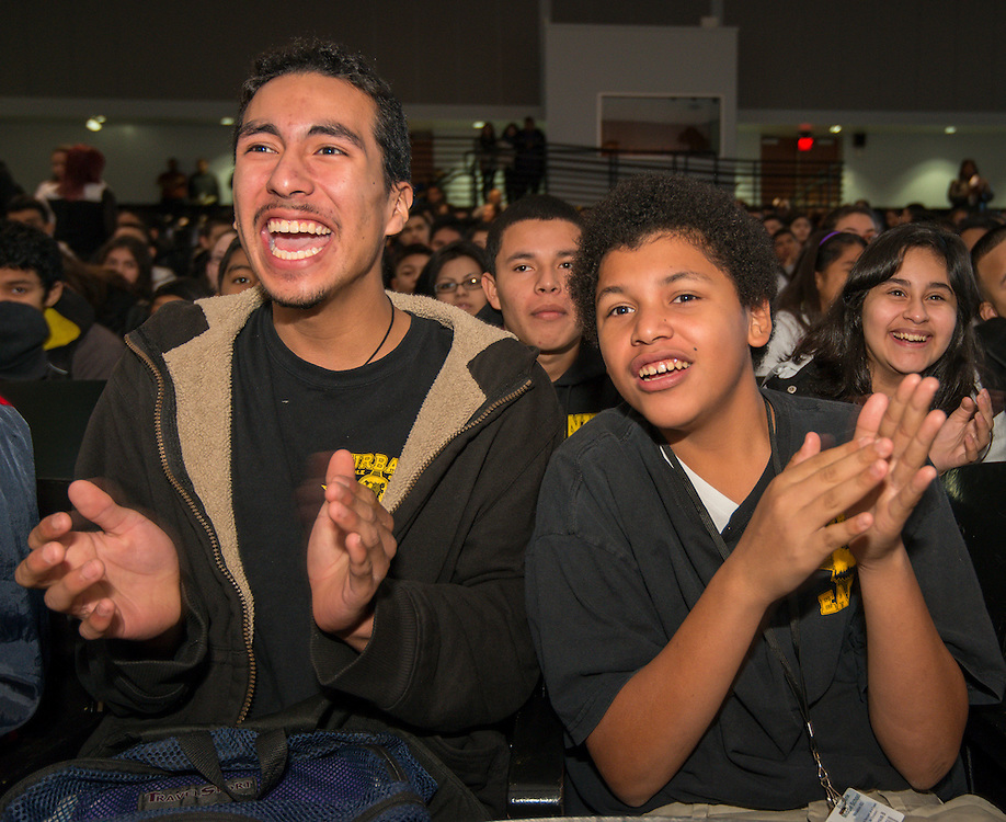 """Students and parents react to comments by telenovela actress Dulce Maria during a Televisa Foundation """"Live the Dream"""" event at Burbank Middle School, December 9, 2013."""