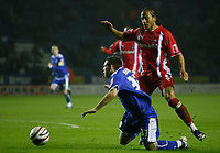 Photo: Steve Bond/Richard Lane Photography. Leicester City v Leyton Orient. Coca Cola League One. 10/01/2009. Tamika Mkandawire (R) brings down Mark Davies (L).  A Penalty is awarded