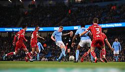 Kevin De Bruyne of Manchester City fires a shot at goal - Mandatory by-line: Matt McNulty/JMP - 09/01/2018 - FOOTBALL - Etihad Stadium - Manchester, England - Manchester City v Bristol City - Carabao Cup Semi-Final First Leg