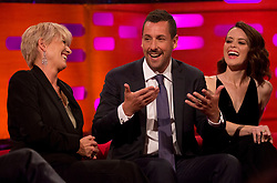 (left to right) Emma Thompson, Adam Sandler and Claire Foy during filming of the Graham Norton Show at the London Studios, to be aired on BBC One on Friday.