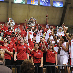 Feb 21, 2009; Piscataway, NJ, USA; The Rutgers Scarlet Knights climbed into the stands with the Rutgers Pep Band following their 55-42 victory over Providence at the Louis Brown Athletic Center.