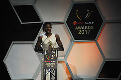 ACCRA, Jan. 5, 2018  African Female Fooballer of the Year Asisat Oshoala speaks during the Confederation of African Football awards ceremony in Accra, Ghana, Jan. 4, 2018. (Credit Image: © Shi Song/Xinhua via ZUMA Wire)