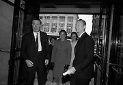 """24/07/1967<br /> 07/24/1967<br /> 24 July 1967<br /> First showing of """"Fleá Cheoil"""" at the Metropole Cinema, Dublin. A presentation was made to the director of the film Mr. Louis Marcus, for winning the Silver Bear Award at the Berlin International Film Festival, by Taoiseach Jack Lynch TD, on behalf of the Cork Film Society, where Mr. Marcus began his carrier. President of the Society Mr. Sean Hendrick attended the presentation. Image shows Mr. Kevin Boland, Minister of Local Government being greeted by Riobard Mac Góráin on his arrival at the theatre."""