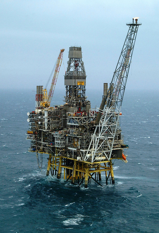 Offshore photography of Conoco Phillips Britannia Platform 140 miles off the coast of Aberdeen in the North Sea.