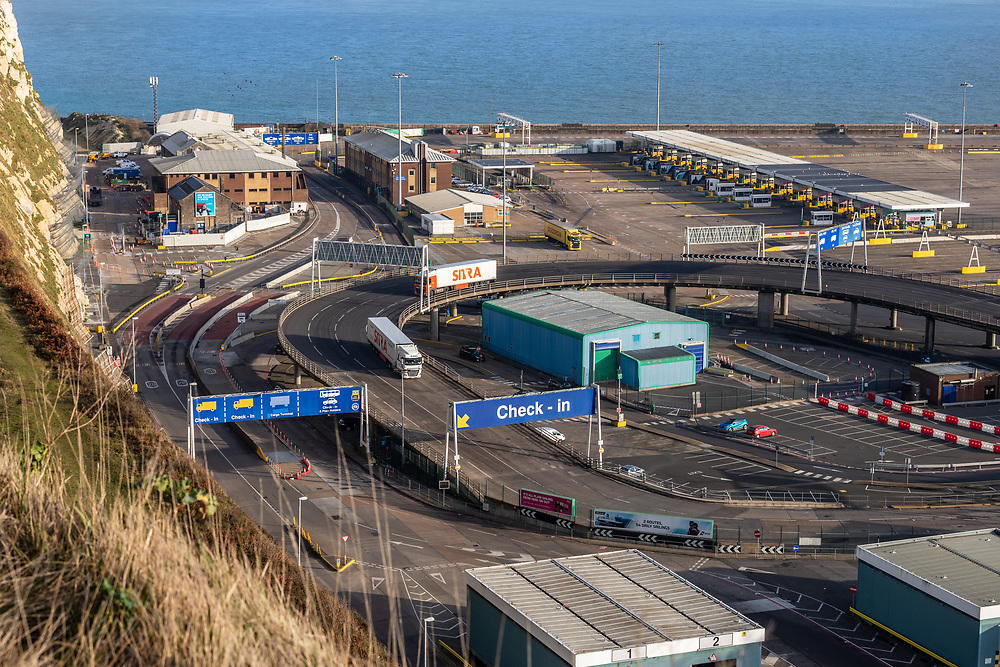 Empty Port of Dover on 1st January 2021. The day the UK left the EU. All quiet on the roads in and around Dover.