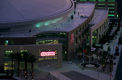 Stock photo of an aerial view of the Toyota Center in Houston.