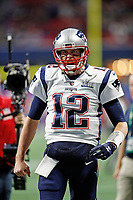 New England Patriots' Tom Brady celebrates during the NFL Super Bowl 53 football game against the Los Angeles Rams, Sunday, Feb. 3, 2019, in Atlanta<br /> (Tom DiPace via AP)
