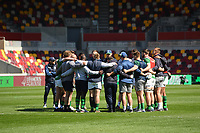 Rugby Union - 2020 / 2021 Gallagher Premiership - Round 17 - London Irish vs Harlequins - Brentford Community Stadium<br /> <br /> London Irish players in a huddle before the warm up.<br /> <br /> COLORSPORT