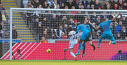19.01.2014, Liberty Stadion, Swansea, ENG, Premier League, Swansea City vs Tottenham Hotspur, 22. Runde, im Bild Tottenham Hotspur's Emmanuel Adebayor scores the first goal against Swansea City // during the English Premier League 22th round match between Swansea City AFC and Tottenham Hotspur at the Liberty Stadion in Swansea, Great Britain on 2014/01/19. EXPA Pictures © 2014, PhotoCredit: EXPA/ Propagandaphoto/ David Rawcliffe<br /> <br /> *****ATTENTION - OUT of ENG, GBR*****