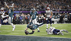February 4, 2018 - Minneapolis, MN, USA - Philadelphia Eagles' Zach Ertz dives for the end zone against the New England Patriots on Sunday, February 4, 2017 during Super Bowl LII at U.S. Bank Stadium in Minneapolis, Minn. (Credit Image: © Carlos Gonzalez/TNS via ZUMA Wire)