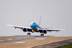 © Licensed to London News Pictures. 30/04/2018. Leeds UK. A KLM flight from Amsterdam struggles to land in strong cross winds this morning at England's highest airport, Leeds Bradford International. Photo credit: Andrew McCaren/LNP