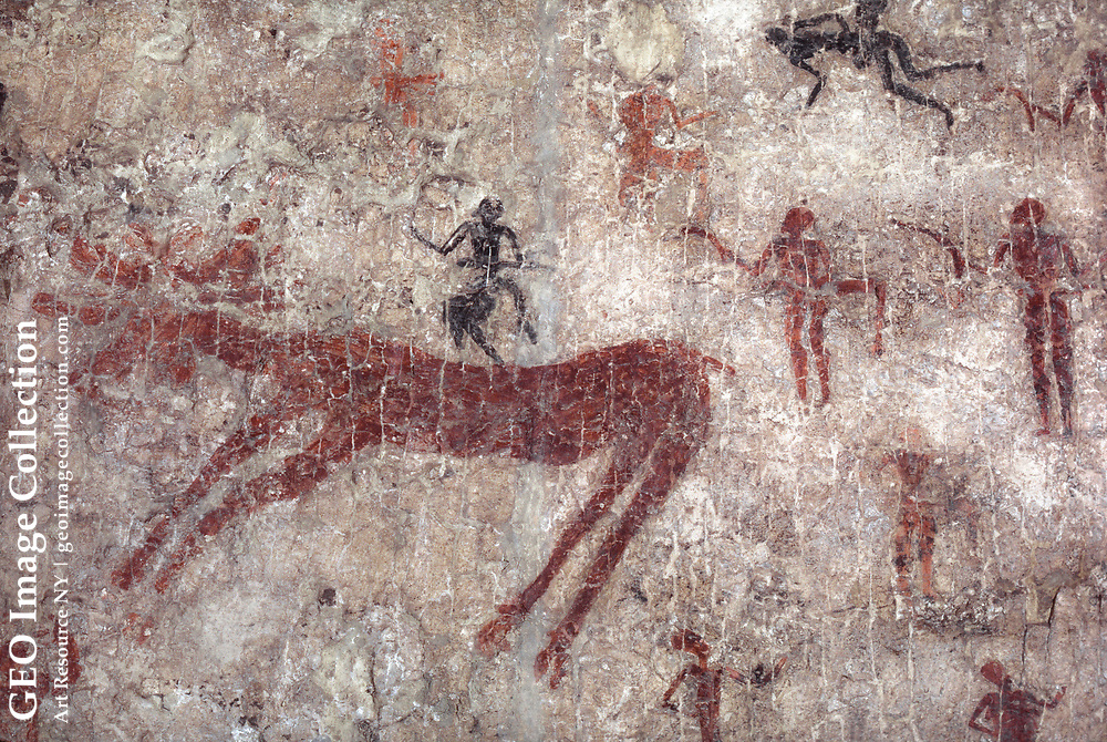 Neolithic wall mural painting of hunting and hunters, excavated at Catal Huyuk in central Anatolia, was made 6000 BC. The painting depicts a hunt and is one of world's works of art. The mural is in the Museum of Anatolian Civilizations in Ankara. Çatal Höyük aka Çatalhöyük was a large Neolithic and Chalcolithic settlement.