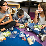 A mixture of third and fourth grade students at Citizens of The World Charter in Silver Lake, CA spent lunch in teacher Liz Kleinrock's room taking part in the Mix It Up at Lunch Day. The program encourages children to move out of their comfort zones and connect with someone new over lunch.
