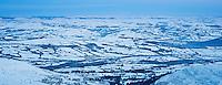 Winter view from Pen Y Fan over a frozen Welsh Landscape, Brecon Beacons national park, Wales