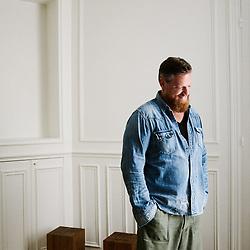 Oliver Reichert, CEO of Birkenstock, posing at the 1774's office. Paris, France. June 24, 2019.<br /> Oliver Reichert, PDG de Birkenstock, prenant la pose dans les bureaux de 1774 Paris, France. 24 juin 2019.