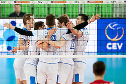 Players of team Slovenia celebrate point during volleyball match between National teams of Slovenia and Poland in 4th Qualification game of CEV European Championship 2015 on May 23, 2014 in Arena Stozice, Ljubljana, Slovenia. Photo by Urban Urbanc / Sportida