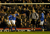 Fotball<br /> England 2004/2005<br /> Foto: SBI/Digitalsport<br /> NORWAY ONLY<br /> <br /> Birmingham City v Southampton<br /> Barclays Premiership. 02/02/2005.<br /> Birmingham's Walter Pandiani (second from L) celebrates after giving his team a 1-0 on his debut, as Southampton's keeper Antti Niemi (second from R) looks on.