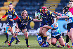 Carys Phillips, returning to the Worcester Warriors Women side after injury, is double-tackled by the DMP Durham Sharks defence - Mandatory by-line: Nick Browning/JMP - 09/01/2021 - RUGBY - Sixways Stadium - Worcester, England - Worcester Warriors Women v DMP Durham Sharks - Allianz Premier 15s