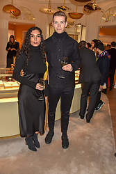 Yasmine Ibrahim and Will Poulter at the reopening of the Cartier Boutique, New Bond Street, London, England. 31 January 2019. <br /> <br /> ***For fees please contact us prior to publication***