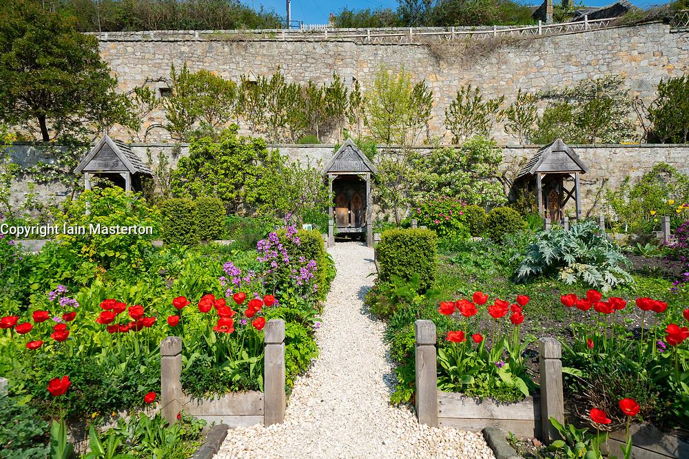 Gardens at Culross Palace in Culross, Fife, Scotland UK