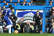 Antonio Conte, the Chelsea manager shouting from the touchline. Premier league match, Chelsea v Arsenal at Stamford Bridge in London on Saturday 4th February 2017.<br /> pic by John Patrick Fletcher, Andrew Orchard sports photography.