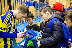 Miha Zarabec of RK Celje PL with fans after the handball match between RK Celje Pivovarna Lasko and RK Gorenje Velenje in Eighth Final Round of Slovenian Cup 2015/16, on December 10, 2015 in Arena Zlatorog, Celje, Slovenia. Photo by Vid Ponikvar / Sportida