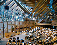 THE SCOTTISH PARLIAMENT, THE ROYAL MILE, EDINBURGH, SCOTLAND, UK, ENRIC MIRALLES + RMJM, EXTERIOR, VIEW FROM ROYAL MILE