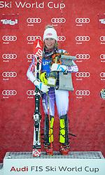 29.12.2014, Hohe Mut, Kühtai, AUT, FIS Ski Weltcup, Kühtai, Slalom, Damen, Siegerehrung, im Bild Siegerin Mikaela Shiffrin (USA) // Winner Mikaela Shiffrin of the USA celebrates on Podium during the award ceremony after Ladies Giant Slalom of the Kuehtai FIS Ski Alpine World Cup at the Hohe Mut Course in Kuehtai, Austria on 2014/12/29. EXPA Pictures © 2014, PhotoCredit: EXPA/ Erich Spiess