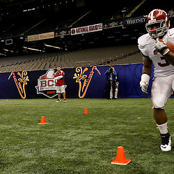 January 5, 2012; New Orleans, LA, USA; Alabama Crimson Tide running back Trent Richardson (3) runs a drill during a team practice for the 2012 BCS National Championship game to be played on January 9, 2012 against the LSU Tigers at the Mercedes-Benz Superdome.  Mandatory Credit: Derick E. Hingle-US PRESSWIRE
