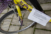 Detail of a Lambeth council notice attached to an abandoned bike in a south London residential street, on 13th February 2019, in London, England.