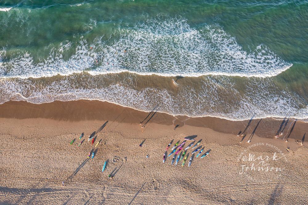 Ballinger Beach, Australia-21 August 2021: Aerial view of Surf Lifesaver trainees, Ballinger Beach, Sunshine Coast, Queensland, Australia