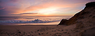 A colorful winter sunrise at Newcomb Hollow Beach.