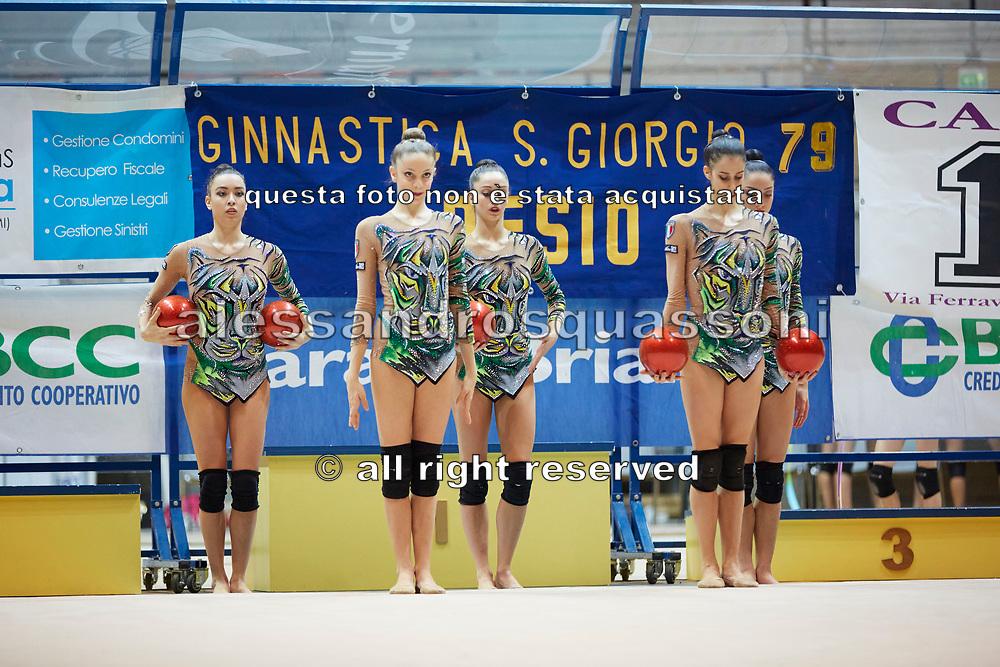 The Italian senior rhythmic gymnastics team during a training session in Desio, 08 February 2020.