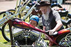 Invited builder Tom Fugle on Friday - for the builder-invite bike check-in for the Born-Free 6 Vintage Chopper and Classic Motorcycle Show. Silverado, CA. USA. June 27, 2014.  Photography ©2014 Michael Lichter.