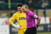 Football - 2020 / 2021 Emirates FA Cup - Round Three: Chorley vs. Derby County<br /> <br /> Referee Kevin Friend shares a joke with Derby County goalkeeper Matt Yates, at Victory Park.<br /> <br /> COLORSPORT/ALAN MARTIN