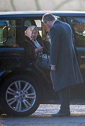 Queen Elizabeth II arriving to attend a church service at St Mary Magdalene Church in Sandringham, Norfolk.