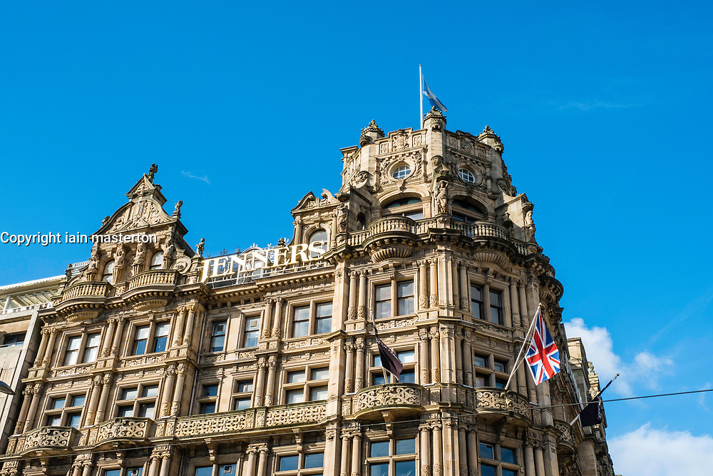 View of famous Jenners Department store on Princes Street in Edinburgh, Scotland, United Kingdom.