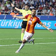 Galatasaray's Yasin Oztekin celebrate his goal during their Turkish Superleague soccer match Mersin Idman Yurdu between Galatasaray at the Mersin stadium in Mersin Turkey on Sunday 12 May 2015. Photo by Aykut AKICI/TURKPIX
