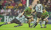 Photo Peter Spurrier<br /> 07/12/2002<br /> European Rugby - Heineken Cup Northamton vs Cardiff.<br /> Saints hooker Steve Thompsom look's for the gap in the Cardiff defence,