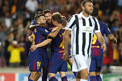September 12, 2017 - Barcelona, Spain - Ivan Rakitic of FC Barcelona celebrates with Lionel Messi and Jordi Alba after scoring his side's second goal during the UEFA Champions League, Group D football match between FC Barcelona and Juventus FC on September 12, 2017 at Camp Nou stadium in Barcelona, Spain. (Credit Image: © Manuel Blondeau via ZUMA Wire)